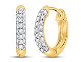 1/6 Carat (ctw G-H, I2-I3) Diamond Hoop Earrings in 10K Yellow Gold