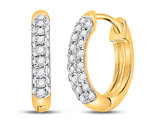 1/6 Carat (ctw G-H, I2-I3) Diamond Hoop Earrings in 10K Yellow Gold