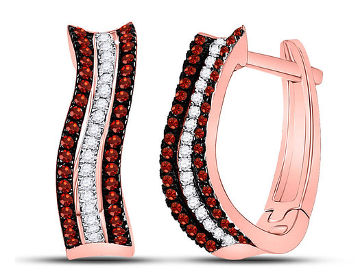 1/4 Carat (ctw) Red & White Diamond Curved Hoop Earrings in 10K Rose Pink Gold