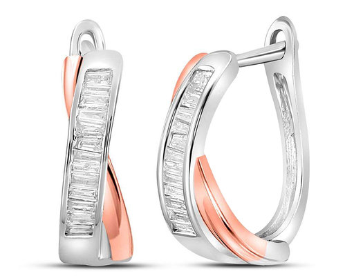 1/3 Carat (ctw) Diamond Crossover Hoop Earrings in 10K White and Pink Gold