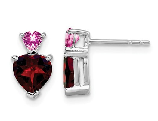 14K White Gold Garnet and Lab Created Pink Sapphire Heart Earrings 1.75 Carats (ctw)