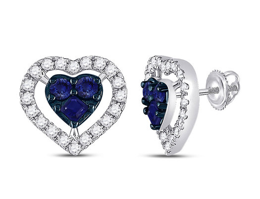 1/3 Carat (ctw) Blue Sapphire Heart Earrings in 10K White Gold with Diamonds 1/2 Carat (ctw)