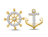 1/10 Carat (ctw G-H, I1-I2) Nautical Anchor Wheel Charm Earrings in 10K Yellow Gold