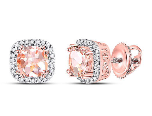 10K Rose Pink Gold 9/10 Carat (ctw) Lab Created Morganite Stud Earrings with Diamonds