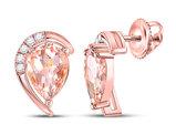 10K Rose Pink Gold 1.80 Carat (ctw) Natural Morganite Earrings with Diamonds