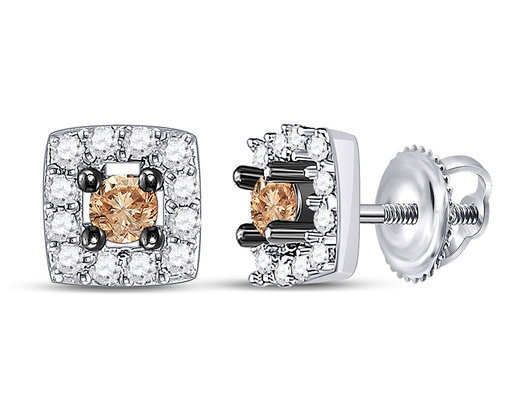 1/4 Carat (ctw I2-I3) Charmpagne Brown Diamond Halo PostEarrings in 10K White Gold