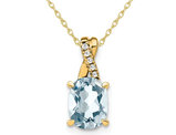 7/10 Carat (ctw) Aquamarine Drop Pendant Necklace in 10K Yellow Gold with Chain