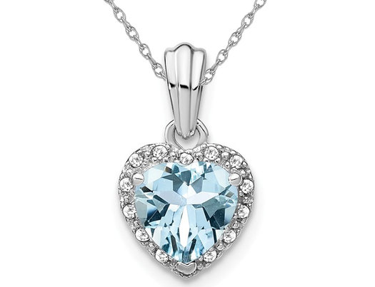 1.15 Carats (ctw) Natural Aquamarine Heart Pendant Necklace In Sterling Silver with Chain and Accent Dimonds