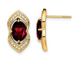14K Yellow Gold 2.50 Carats (ctw) Natural Garnet Post Earrings with Diamonds