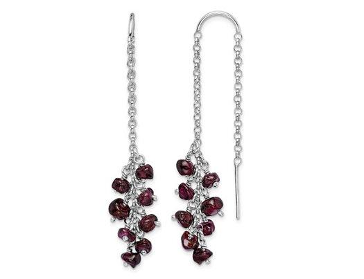 1.76 Carats (ctw) Garnet Dangle Earrings in Sterling Silver