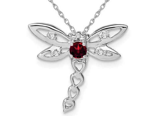 1/7 Carat (ctw) Garnet Dragonfly Charm Pendant Necklace in 14K White Gold with Chain