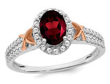 14K White and Rose Gold Natural Garnet Ring 1.00 Carat (ctw) with Diamonds 1/4 Carat (ctw)