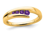 1/5 Carat (ctw) Natural Amethyst Wedding Band Ring in 14K Yellow Gold