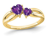 2/3 Carat (ctw) Amethyst Heart Promise Ring in 10K Yellow Gold