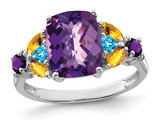 3.00 Carat (ctw) Amethyst, Citrine and Blue Topaz Ring in Sterling Silver