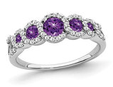1/2 Carat (ctw) Natural Amethyst and Diamonds Ring 1/4 Carat (ctw) in 14K White Gold