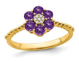 9/10 Carat (ctw) Natural Amethyst Flower Ring in 14K Yellow Gold