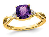 1.75 Carat (ctw) Amethyst Ring in 10K Yellow Gold with Accent Diamonds