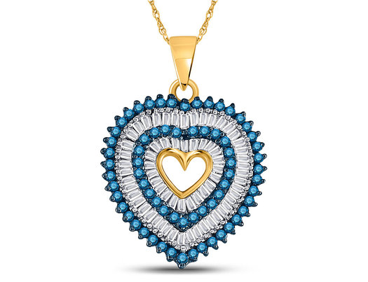 7/8 Carat (ctw) Enhanced Blue Diamond Heart Pendant Necklace in 10K Yellow Gold with Chain