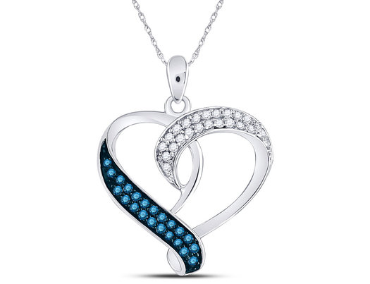 1/5 Carat (ctw) Enhanced Blue Diamond Heart Pendant Necklace in Sterling Silver with Chain
