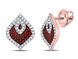 2/5 Carat (ctw I2-I3) Red Diamond Earrings in 10K Rose Pink Gold