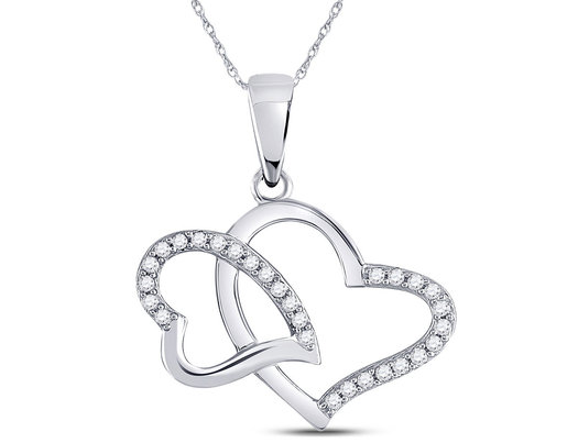 1/6 Carat (ctw G-H, I2-I3) Double Heart Diamond Pendant Necklace in 10K White Gold with Chain