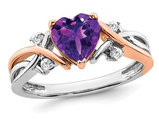 1.12 Carat (ctw) Amethyst Heart Promise Ring in 14K White and Pink Gold