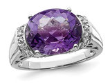 4.20 Carat (ctw) Amethyst Ring in Sterling Silver with Accent Diamonds