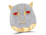 2.88 Carat (ctw) Diamond Panther Ring in 14K Yellow Gold with Ruby Eyes