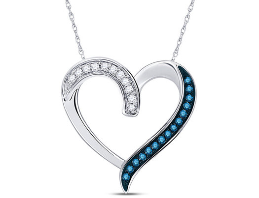 1/5 Carat (ctw) Blue and White Diamond Heart Pendant Necklace in 10K White Gold with Chain