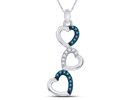 1/6 Carat (ctw) Blue Diamond Triple Heart Pendant Necklace in 10K White Gold with Chain