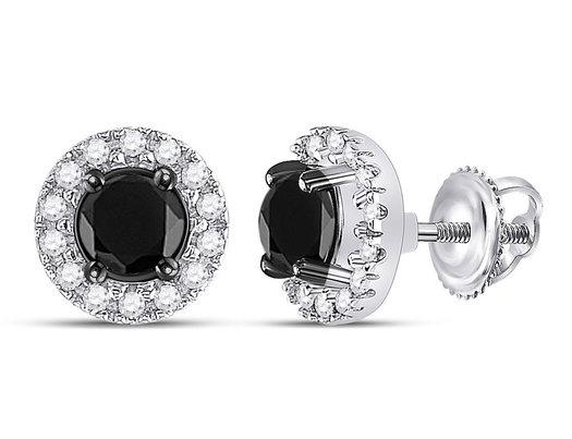 1.00 Carat (ctw) Enhanced Black and White Diamond Earrings in 10K White Gold