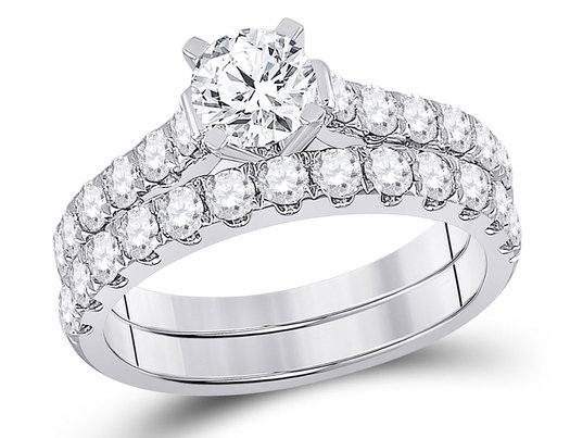 2.00 Carat (Color G-H, I1-I2) Diamond Engagement Ring and Wedding Band Set in 14K White Gold