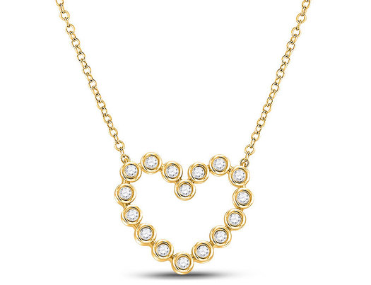1/4 Carat (ctw I2-I3) Diamond Heart Necklace in 14K Yellow Gold