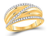 10K Yellow Gold 1/3 Carat (ctw G-H, I1-I2) Diamond Crossover Ring