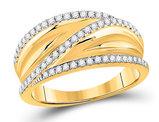 10K Yellow Gold 1/3 Carat (ctw G-H, I1-I2) Diamond Crossover Ring