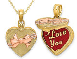 14K Yellow Gold Heart with Candy Box Bow Pendant Necklace with Chain