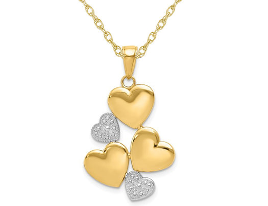 14K Yellow Gold Polished Hearts Pendant Necklace with Chain