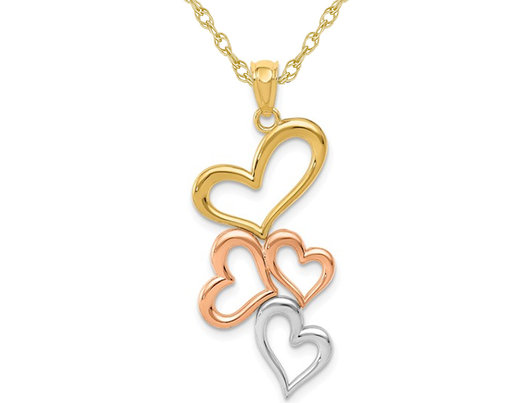 14K Yellow and Rose Gold Open Hearts Pendant Necklace with Chain