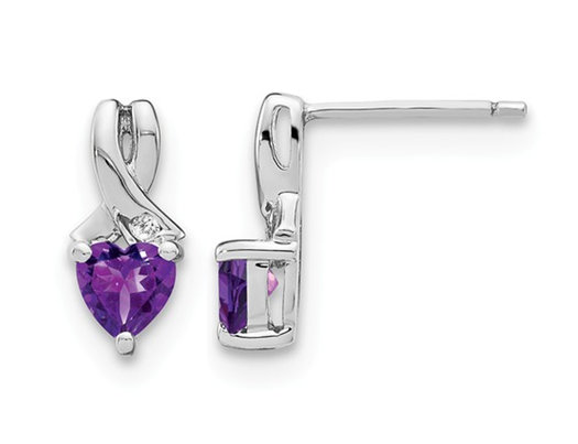 4/5 Carat (ctw) Natural Amethyst Heart Earrings in Sterling Silver