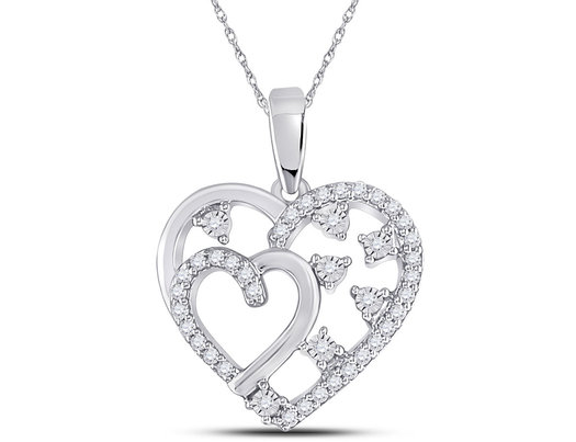 1/6 Carat (ctw G-H, I2) Diamond Heart Pendant Necklace in 14K White Gold with Chain