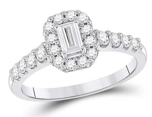 3/4 Carat (ctw G-H, I1-I2) Emerald-Cut Diamond Halo Engagement Ring in 14K White Gold
