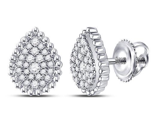 1/4 Carat (ctw G-H, I2) Diamond TearDrop Earrings in 10K White Gold