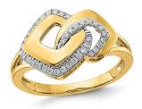 14K Yellow Gold Fashion Geometric Ring with Diamonds 1/6 Carat (ctw)
