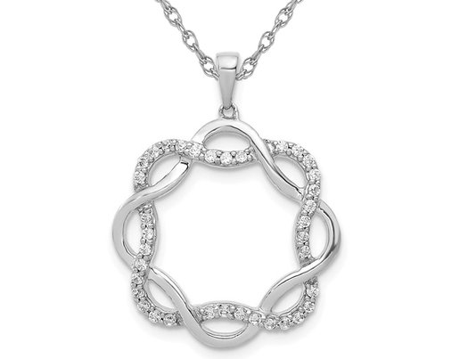 1/5 Carat (ctw) Diamond Twisted Circle Pendant Necklace in 14K White Gold with Chain