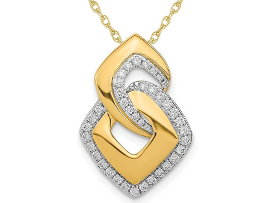 1/5 Carat (ctw) Diamond Geometric Pendant Necklace in 14K Yellow Gold with Chain