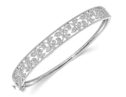 14K White Gold Polished Diamond Bangle Bracelet 1/2 Carat (ctw)