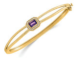 14K Yellow Gold 2/5 Carat (ctw) Emerald-Cut Amethyst Bangle Bracelet with Diamonds