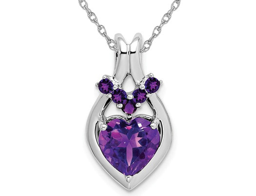 2.17 Carat (ctw) Amethyst Heart Pendant Necklace in 14k White Gold with Chain
