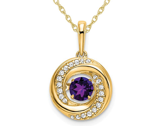 1/3 Carat (ctw) Natural Amethyst Circle Pendant Necklace in 14K Yellow Gold with Diamonds and Chain